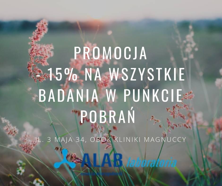 ALAB Laboratoria Promocja Na Wszystkie Badania -15%
