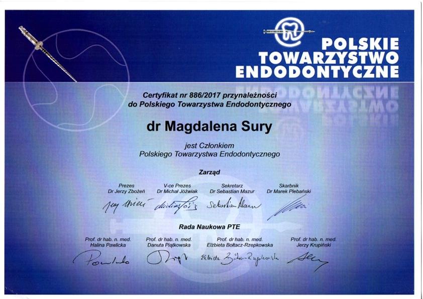 certyfikat przynależności do polskiego towarzystwa endodontycznego